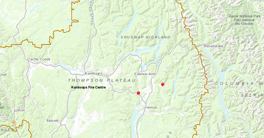 BC Wildfire Service douses spot fires east and west of Kamloops
