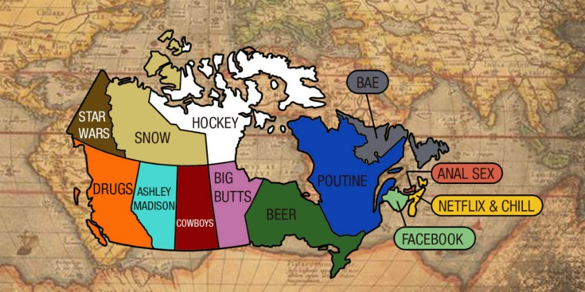 Canada Map Funny Funny Map Shows Who was Googling What in 2015