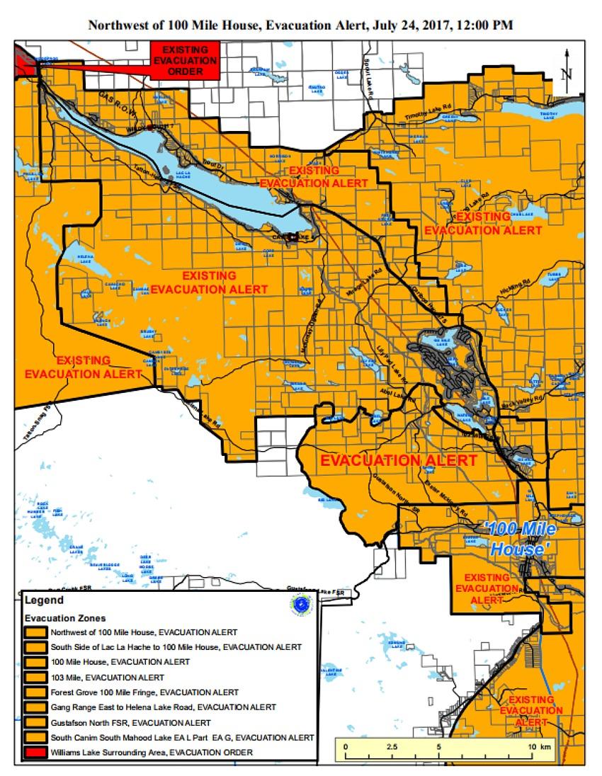 Evacuation Orders Downgraded Northwest Of 100 Mile House
