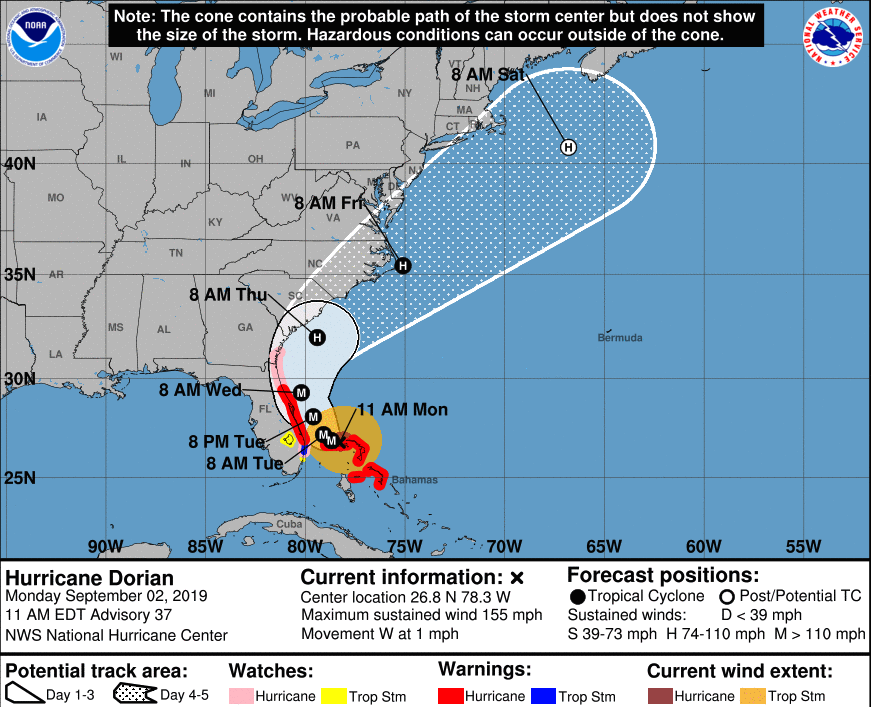 Hurricane Dorian pounds Bahamas, menaces USA  southeast coast