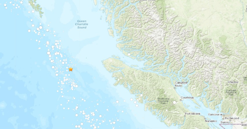 Large natural disaster strikes spot off coast of British Columbia