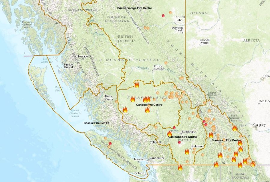 <who>Photo Credit: BC Wildfire Service</who>A map of forest fires in Central B.C. as of 6:30 a.m. on Wednesday, September 13th.