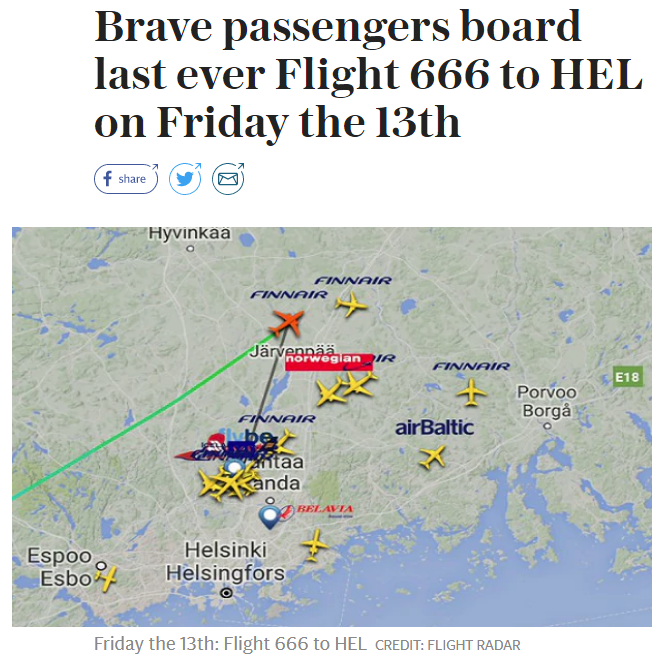 Finnair Just Sent Its Final Friday the 13th Flight 666 to HEL