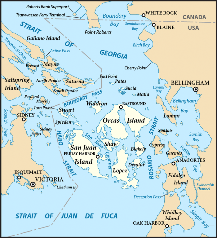 </who> The fish nets are located near Cypress Island on the eastern edge of the San Juan Islands.