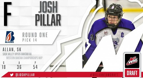 Blazers select Josh Pillar in the 1st round of the WHL Bantam Draft