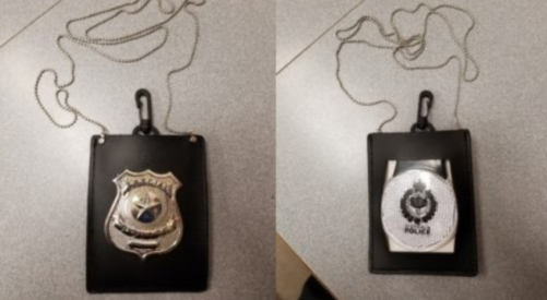 Victoria man caught with a imitation police badge hanging from rear view mirror