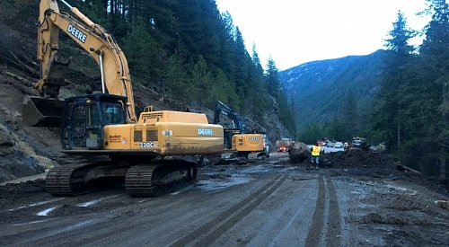 UPDATE: Highway 3A is open to single lane alternating traffic after yesterday's mudslide