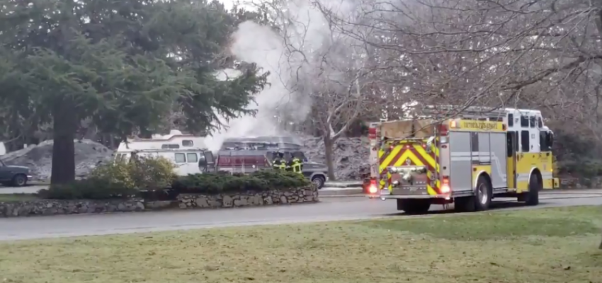One person dead after vehicle fire in Beacon Hill Park this morning